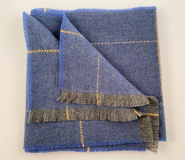 Cushendale Lambswool country Scarf - Blue - Beautiful Things Textiles